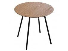 Apvalus stalas su juodomis kojomis