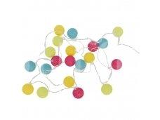 Medvilninių kamuoliukų grilianda spalvota