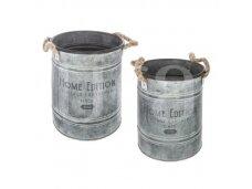 Metalinių vazonų rinkinys su virvėmisX2