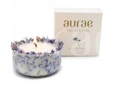 Natūralaus sojų vaško žvakė su  rugiagėlių žiedlapiais 250 g