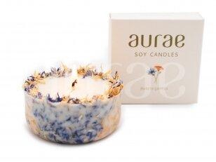 Natūralaus sojų vaško žvakė su rugiagėlių – medetkų žiedlapiais 250 g