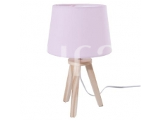 Rožinis pastatomas šviestuvas su medinėmis kojelėmis